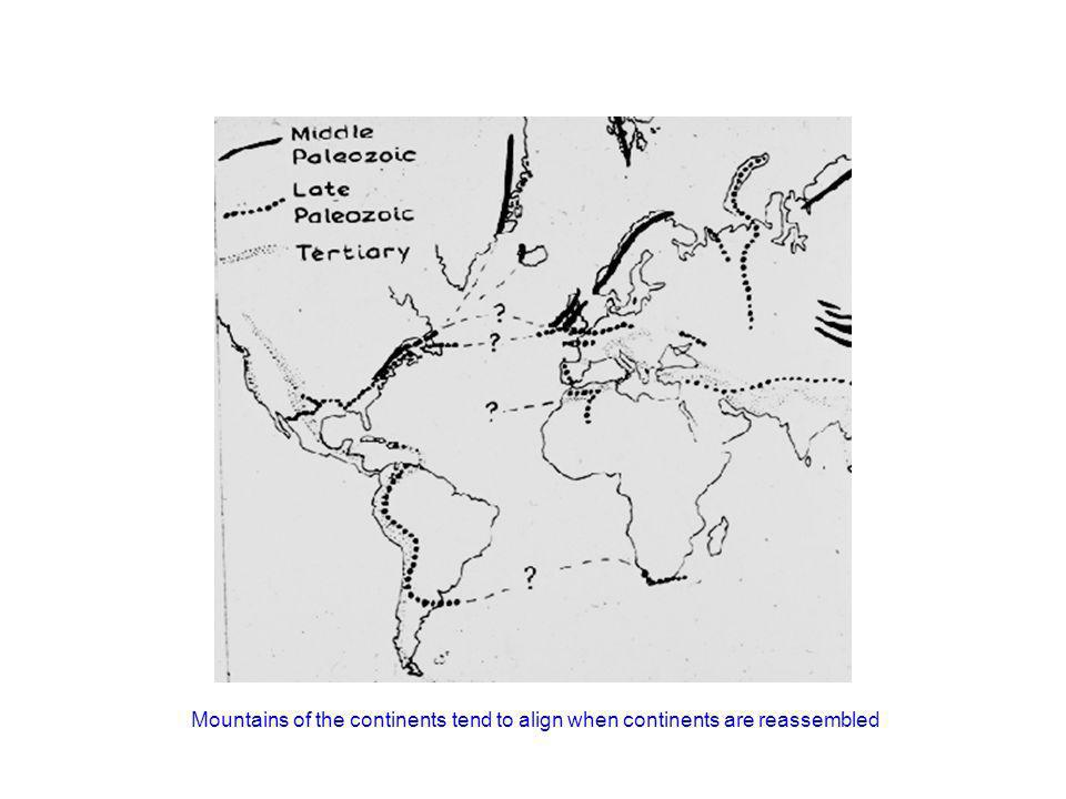 http://www.geology.ohio-state.edu/~vonfrese/gs100/lect25/index.htmlMountains of the continents tend to align when continents are reassembled.