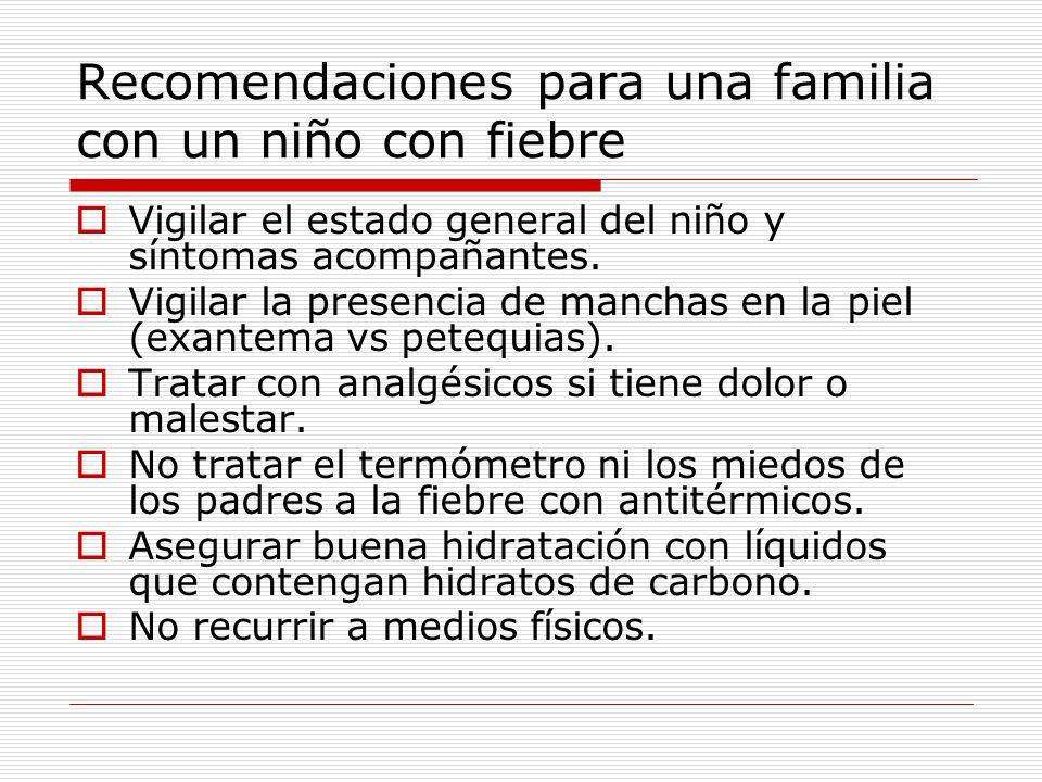 Recomendaciones para una familia con un niño con fiebre