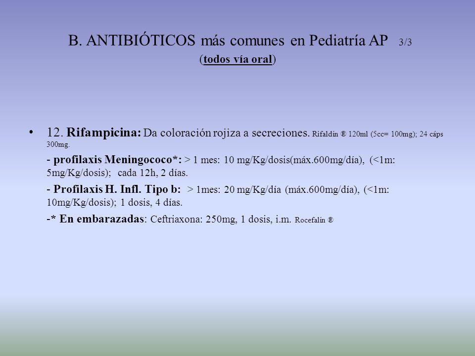 B. ANTIBIÓTICOS más comunes en Pediatría AP 3/3 (todos vía oral)