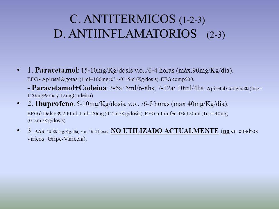 C. ANTITERMICOS (1-2-3) D. ANTIINFLAMATORIOS (2-3)