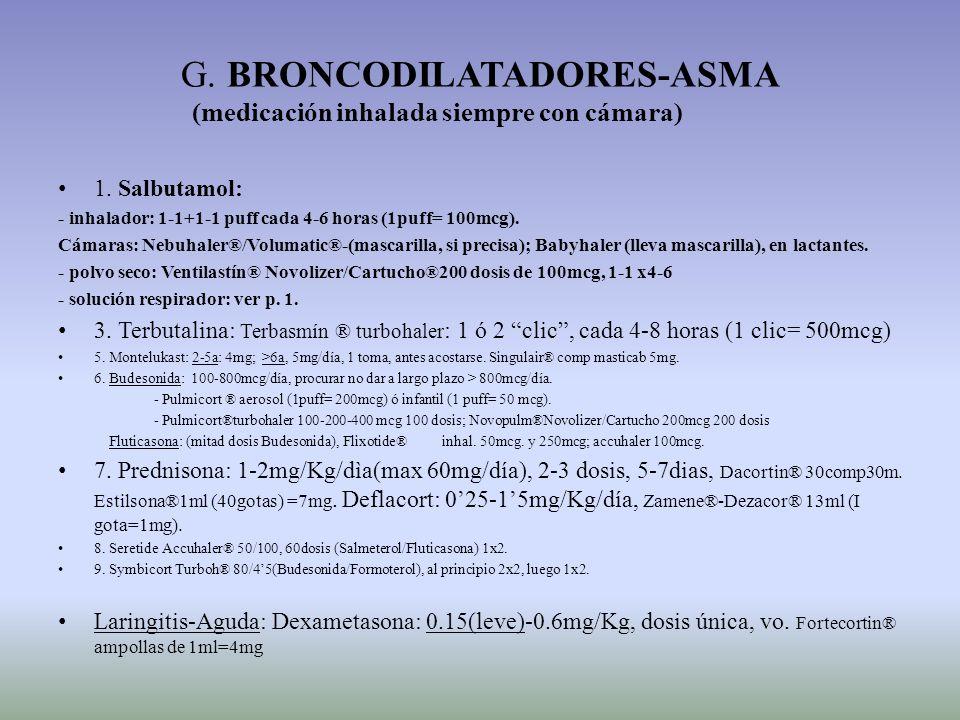 G. BRONCODILATADORES-ASMA (medicación inhalada siempre con cámara)