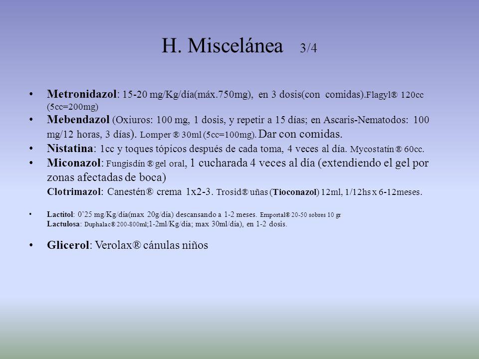 H. Miscelánea 3/4Metronidazol: 15-20 mg/Kg/día(máx.750mg), en 3 dosis(con comidas).Flagyl® 120cc (5cc=200mg)