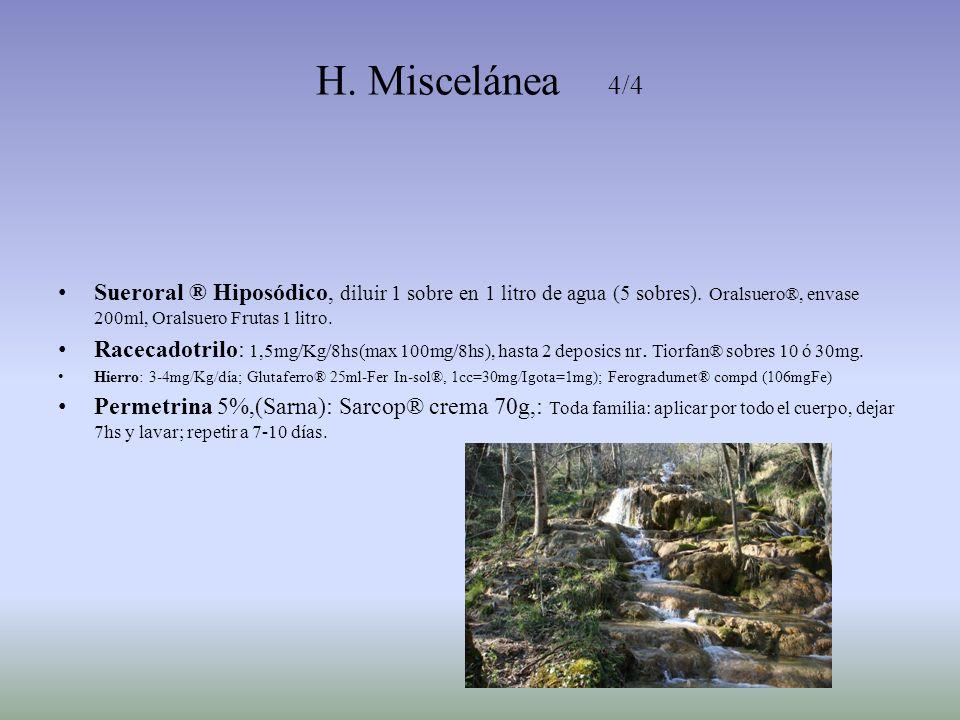H. Miscelánea 4/4 Sueroral ® Hiposódico, diluir 1 sobre en 1 litro de agua (5 sobres). Oralsuero®, envase 200ml, Oralsuero Frutas 1 litro.