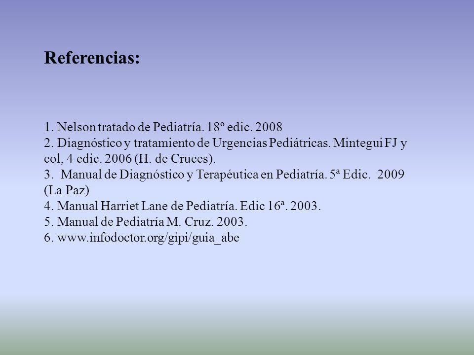 Referencias: 1. Nelson tratado de Pediatría. 18º edic. 2008