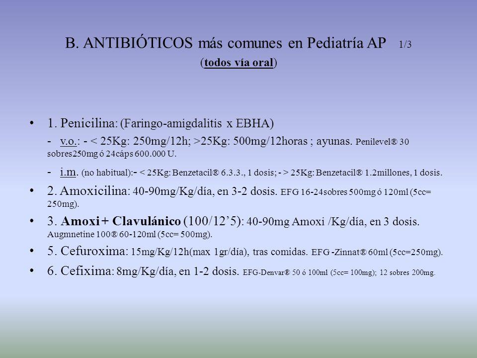 B. ANTIBIÓTICOS más comunes en Pediatría AP 1/3 (todos vía oral)