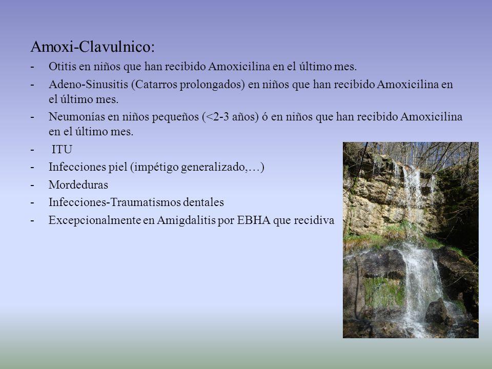 Amoxi-Clavulnico:Otitis en niños que han recibido Amoxicilina en el último mes.