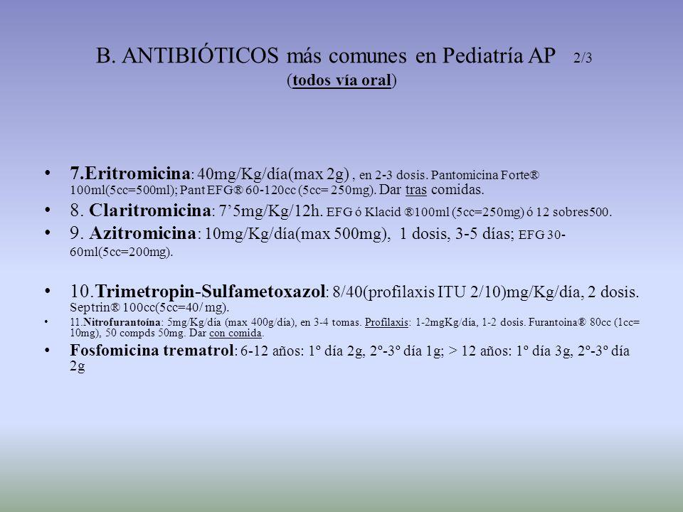 B. ANTIBIÓTICOS más comunes en Pediatría AP 2/3 (todos vía oral)