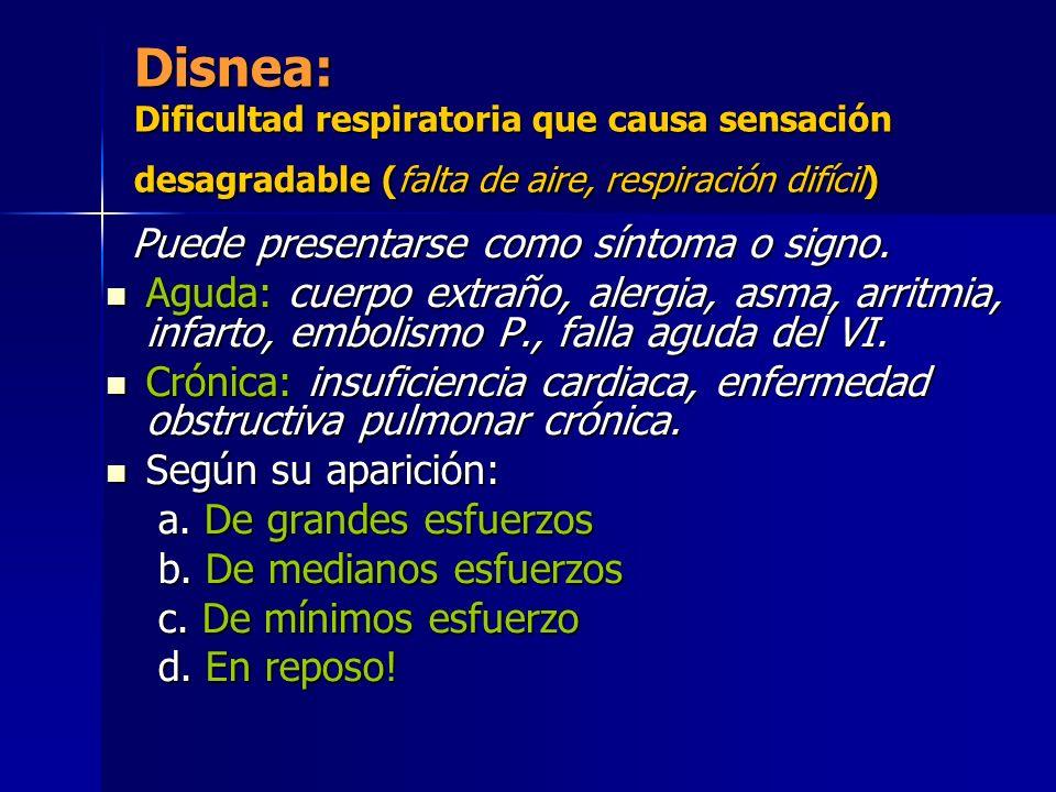 Disnea: Dificultad respiratoria que causa sensación desagradable (falta de aire, respiración difícil)