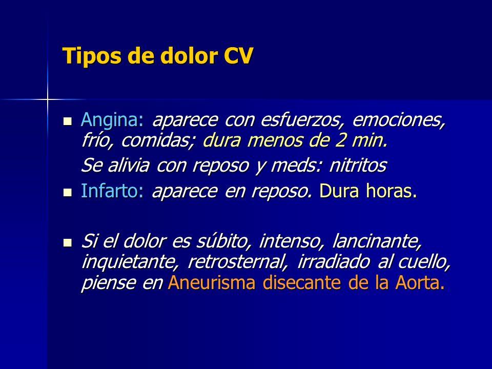 Tipos de dolor CV Angina: aparece con esfuerzos, emociones, frío, comidas; dura menos de 2 min. Se alivia con reposo y meds: nitritos.