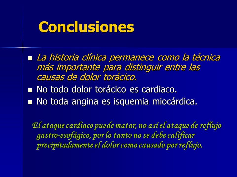 Conclusiones La historia clínica permanece como la técnica más importante para distinguir entre las causas de dolor torácico.