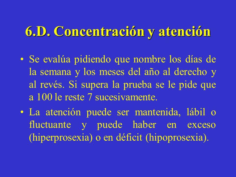 6.D. Concentración y atención