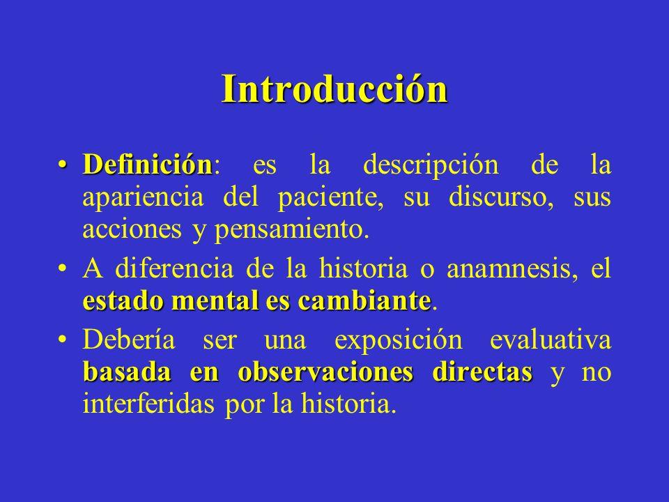 Introducción Definición: es la descripción de la apariencia del paciente, su discurso, sus acciones y pensamiento.