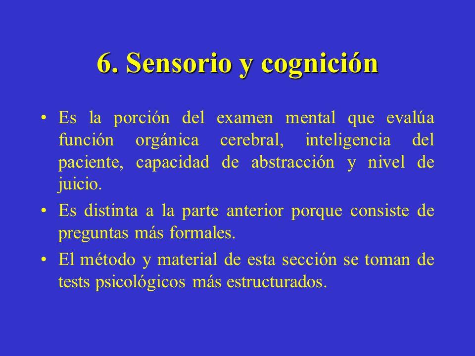 6. Sensorio y cognición