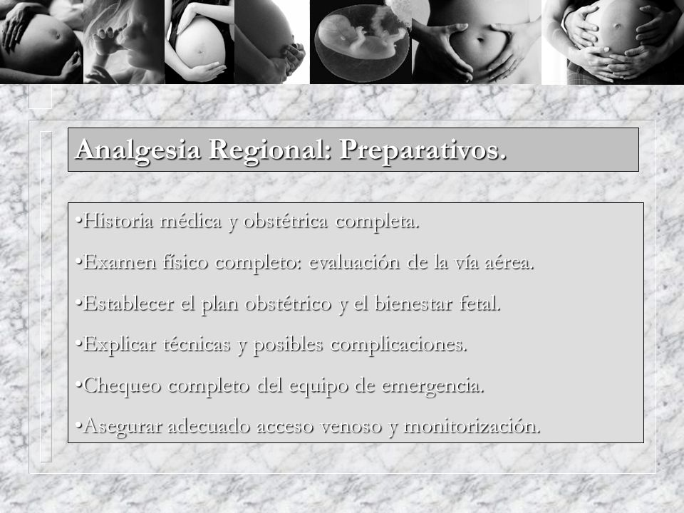 Analgesia Regional: Preparativos.