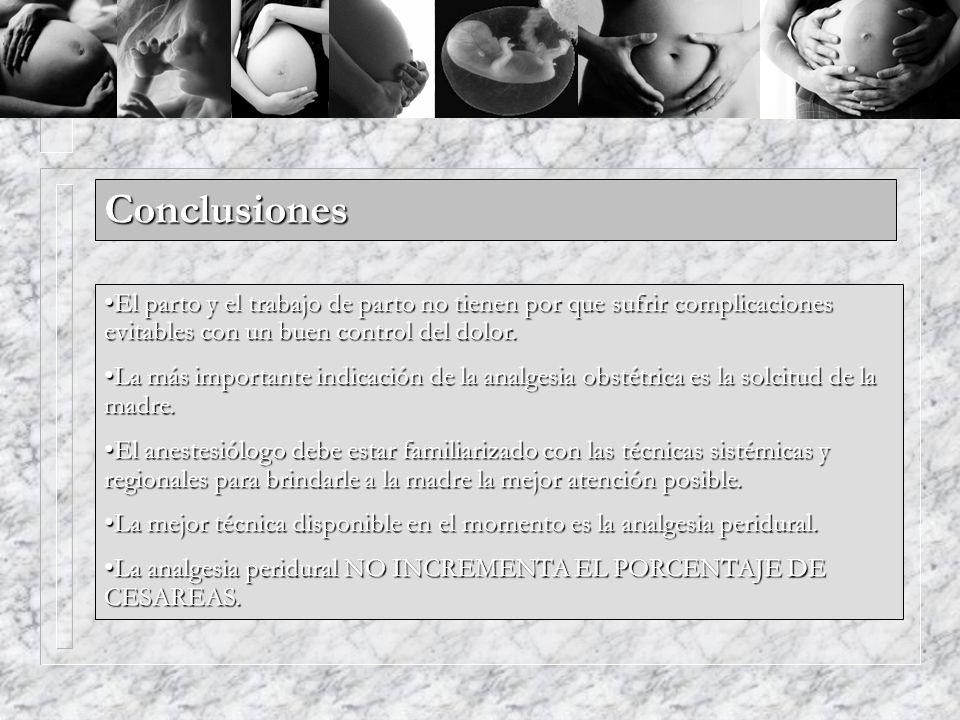 Conclusiones El parto y el trabajo de parto no tienen por que sufrir complicaciones evitables con un buen control del dolor.
