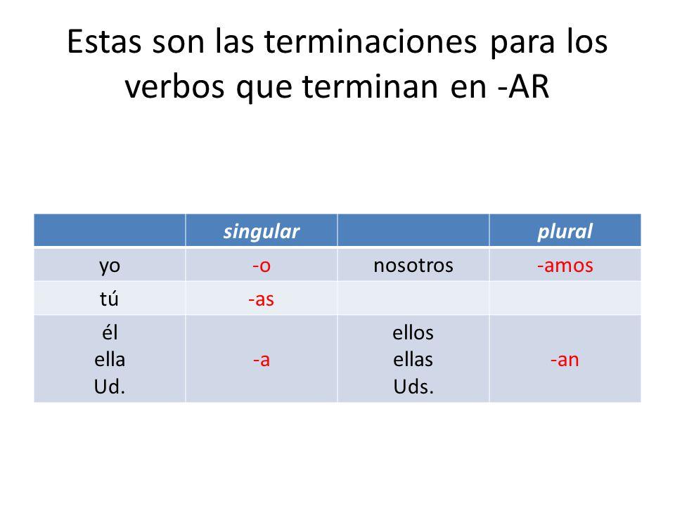 Estas son las terminaciones para los verbos que terminan en -AR