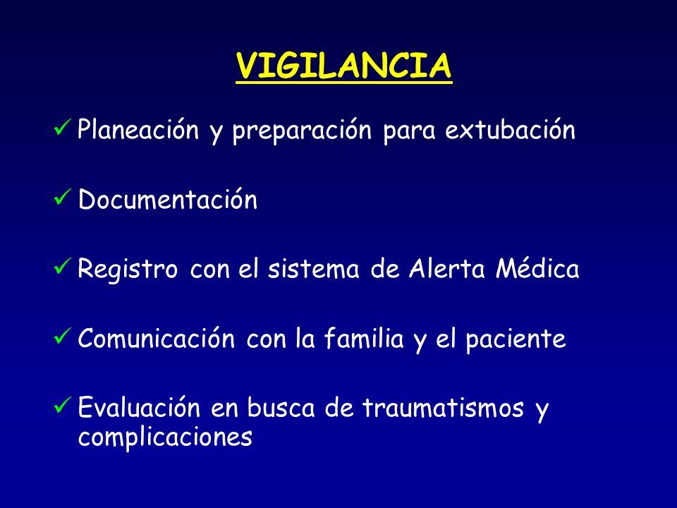 VIGILANCIA Planeación y preparación para extubación Documentación