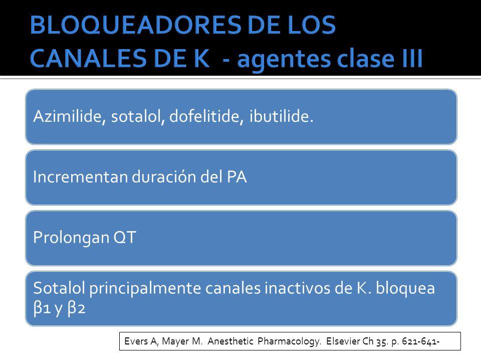 BLOQUEADORES DE LOS CANALES DE K - agentes clase III