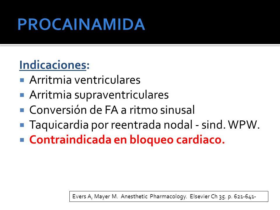 PROCAINAMIDA Indicaciones: Arritmia ventriculares