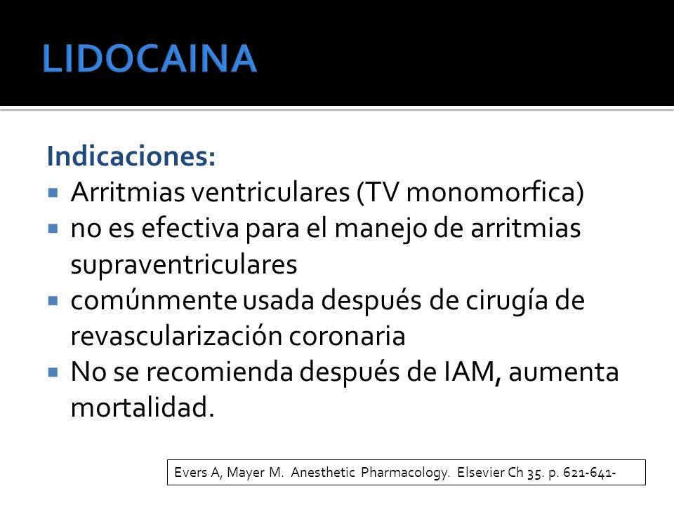 LIDOCAINA Indicaciones: Arritmias ventriculares (TV monomorfica)