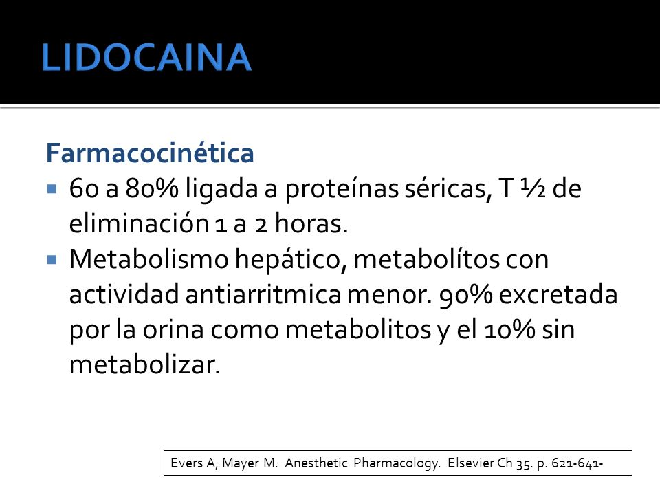 LIDOCAINA Farmacocinética