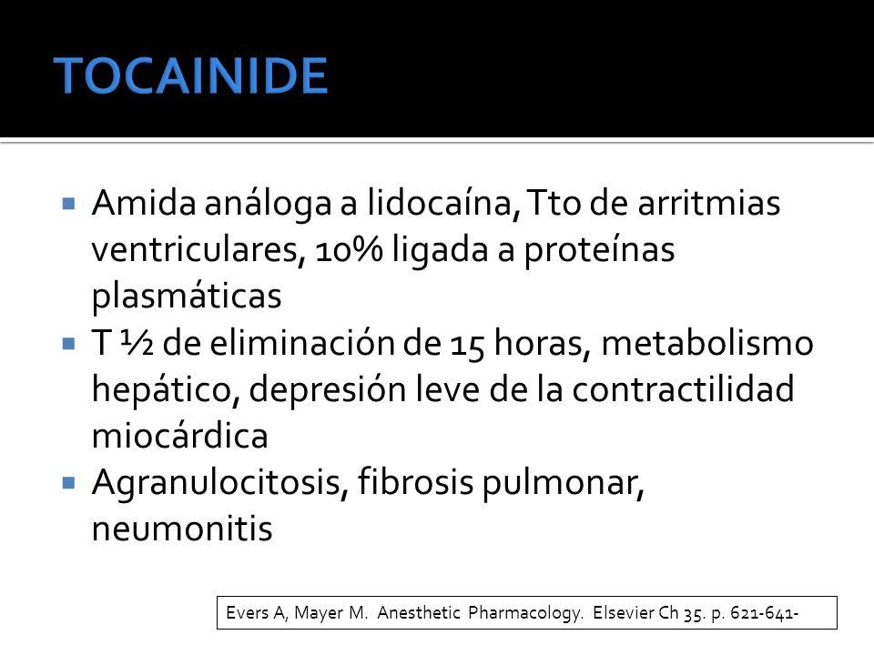 TOCAINIDE Amida análoga a lidocaína, Tto de arritmias ventriculares, 10% ligada a proteínas plasmáticas.