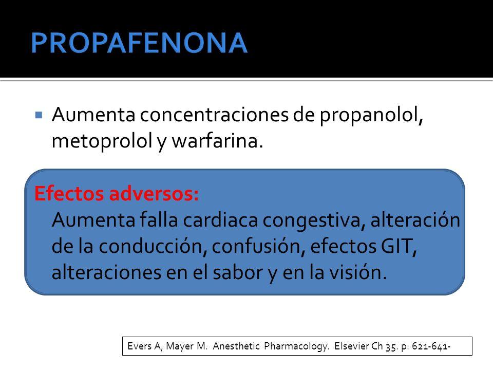 PROPAFENONA Aumenta concentraciones de propanolol, metoprolol y warfarina. Efectos adversos:
