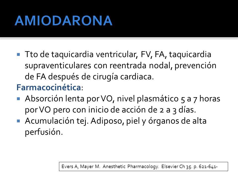 AMIODARONA Tto de taquicardia ventricular, FV, FA, taquicardia supraventiculares con reentrada nodal, prevención de FA después de cirugía cardiaca.