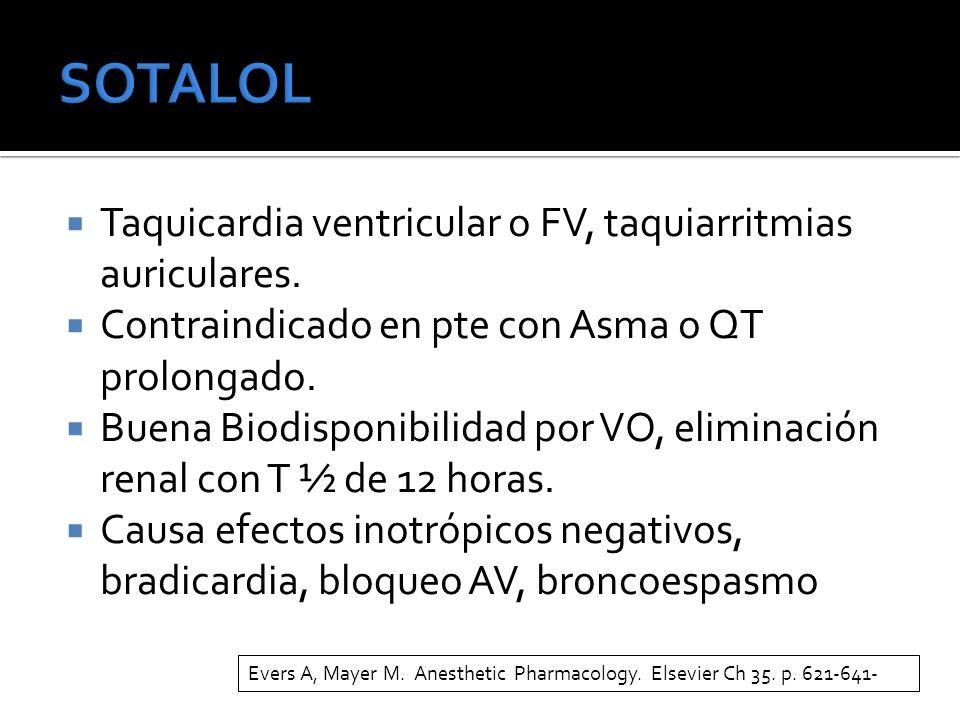 SOTALOL Taquicardia ventricular o FV, taquiarritmias auriculares.