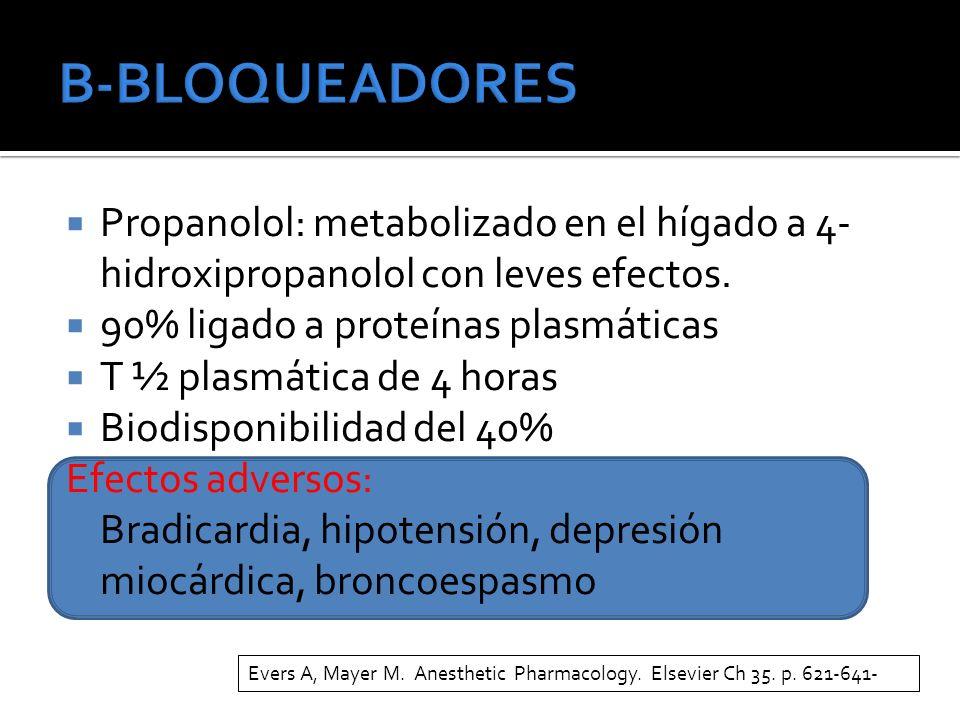 B-BLOQUEADORES Propanolol: metabolizado en el hígado a 4-hidroxipropanolol con leves efectos. 90% ligado a proteínas plasmáticas.
