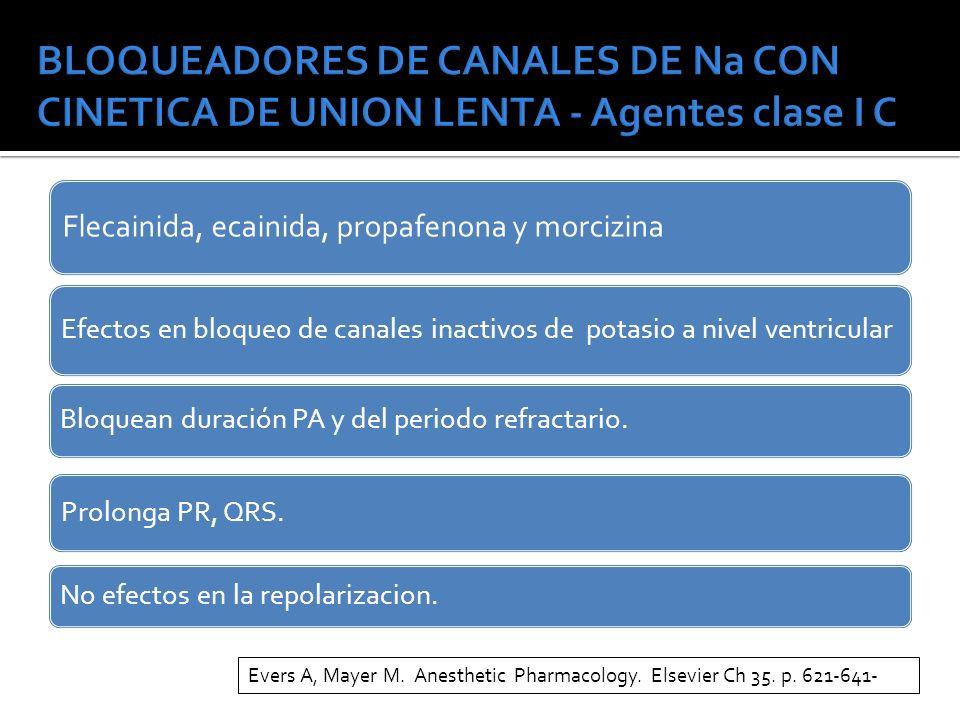 BLOQUEADORES DE CANALES DE Na CON CINETICA DE UNION LENTA - Agentes clase I C