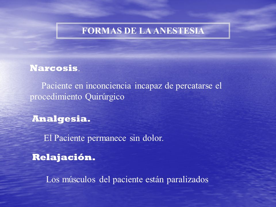 FORMAS DE LA ANESTESIA Narcosis. Paciente en inconciencia incapaz de percatarse el. procedimiento Quirúrgico.