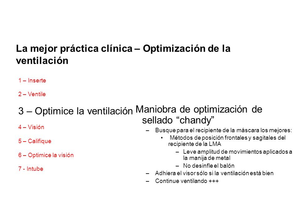 La mejor práctica clínica – Optimización de la ventilación