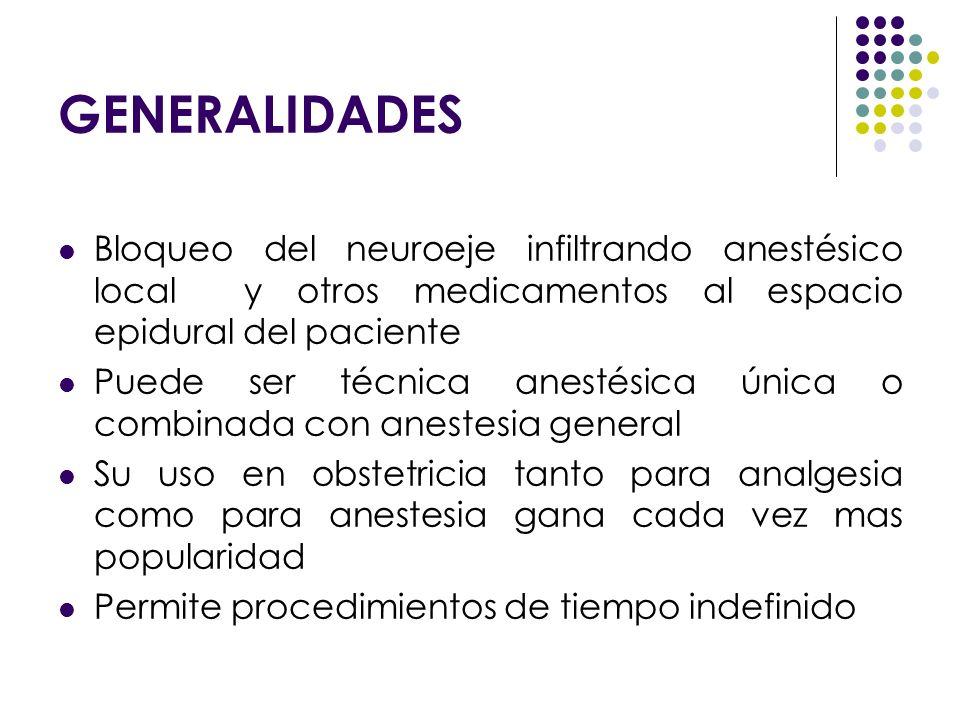 GENERALIDADESBloqueo del neuroeje infiltrando anestésico local y otros medicamentos al espacio epidural del paciente.