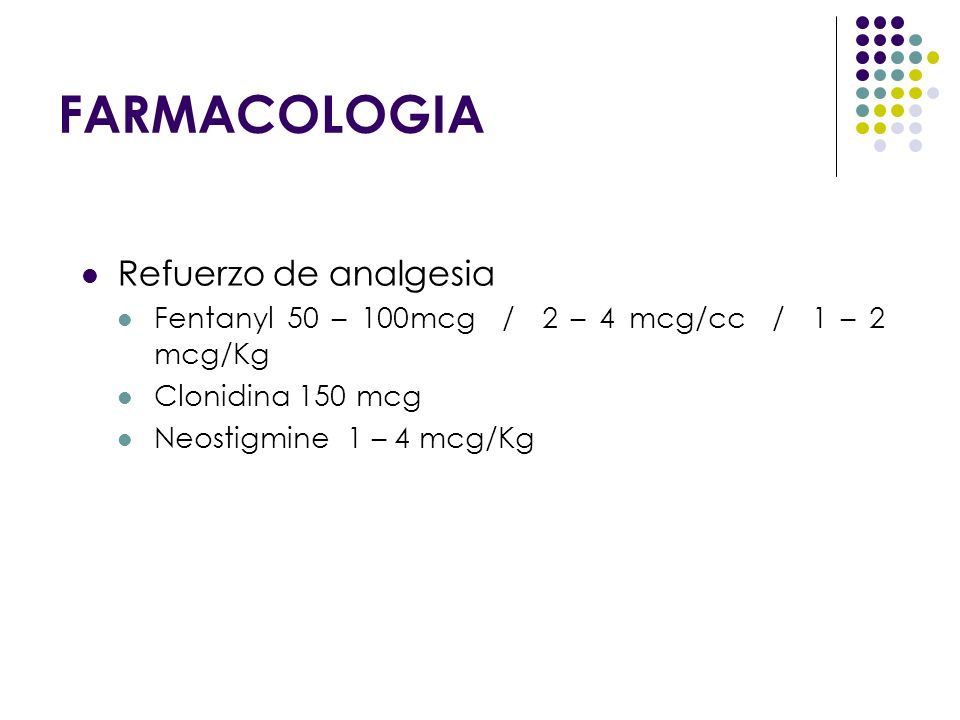 FARMACOLOGIA Refuerzo de analgesia