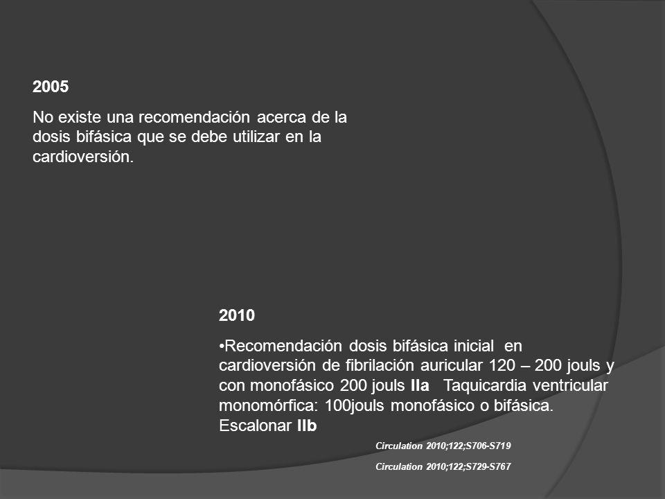 2005 No existe una recomendación acerca de la dosis bifásica que se debe utilizar en la cardioversión.