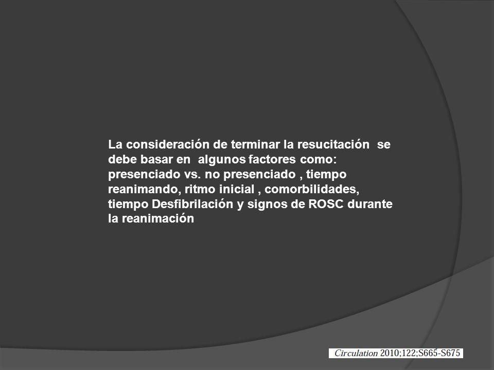 La consideración de terminar la resucitación se debe basar en algunos factores como: presenciado vs.
