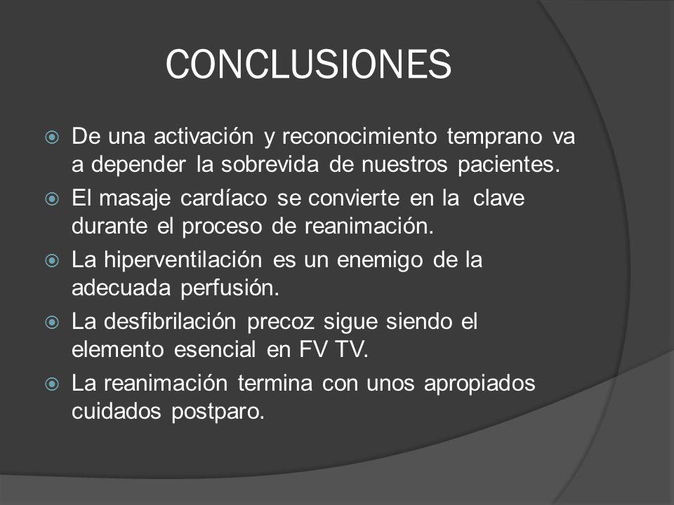 CONCLUSIONES De una activación y reconocimiento temprano va a depender la sobrevida de nuestros pacientes.