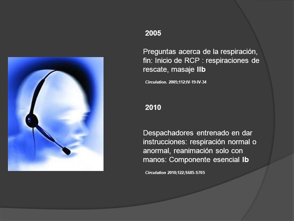 2005 Preguntas acerca de la respiración, fin: Inicio de RCP : respiraciones de rescate, masaje IIb.
