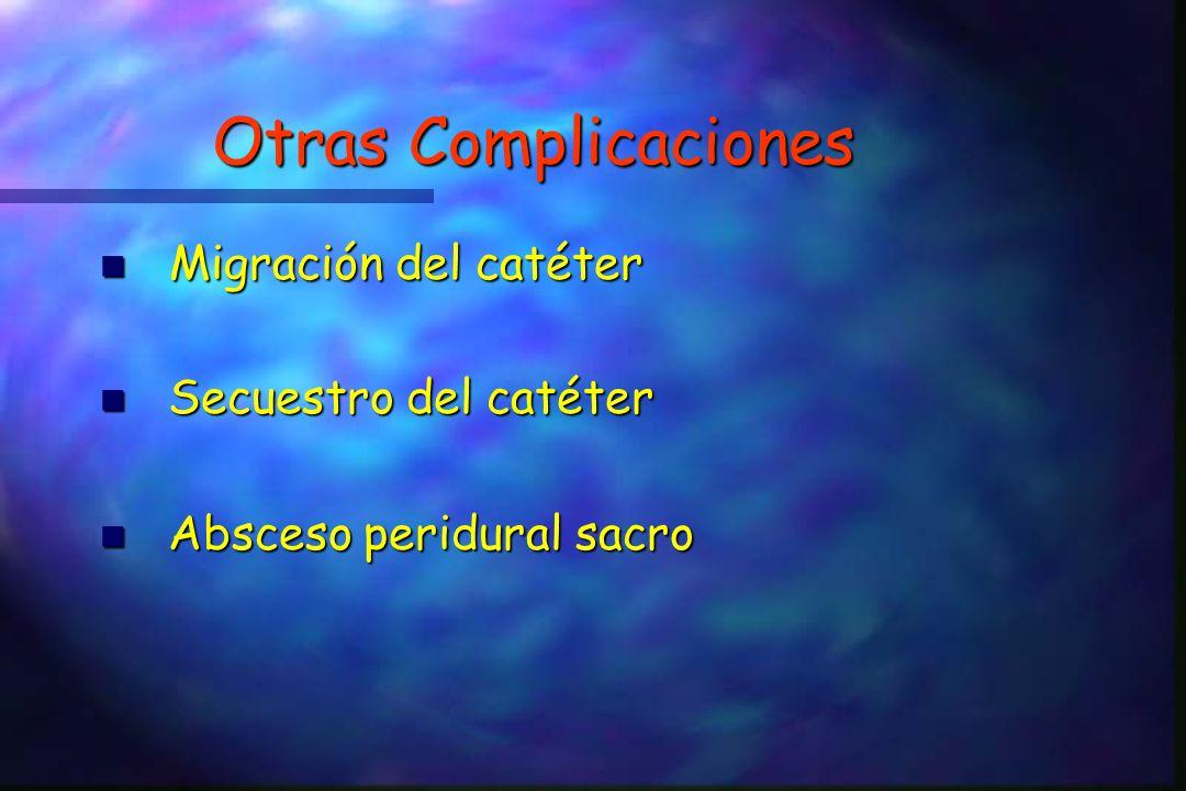 Otras Complicaciones Migración del catéter Secuestro del catéter