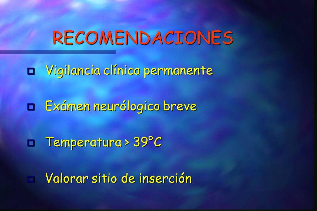 RECOMENDACIONES Vigilancia clínica permanente Exámen neurólogico breve