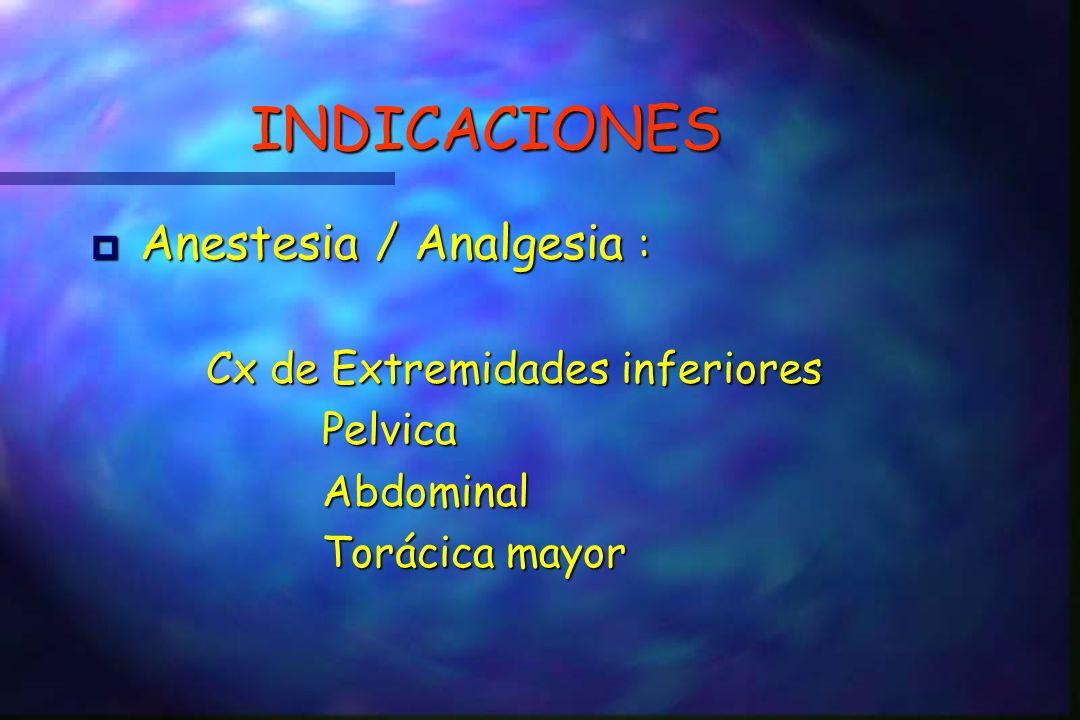 INDICACIONES Anestesia / Analgesia : Cx de Extremidades inferiores