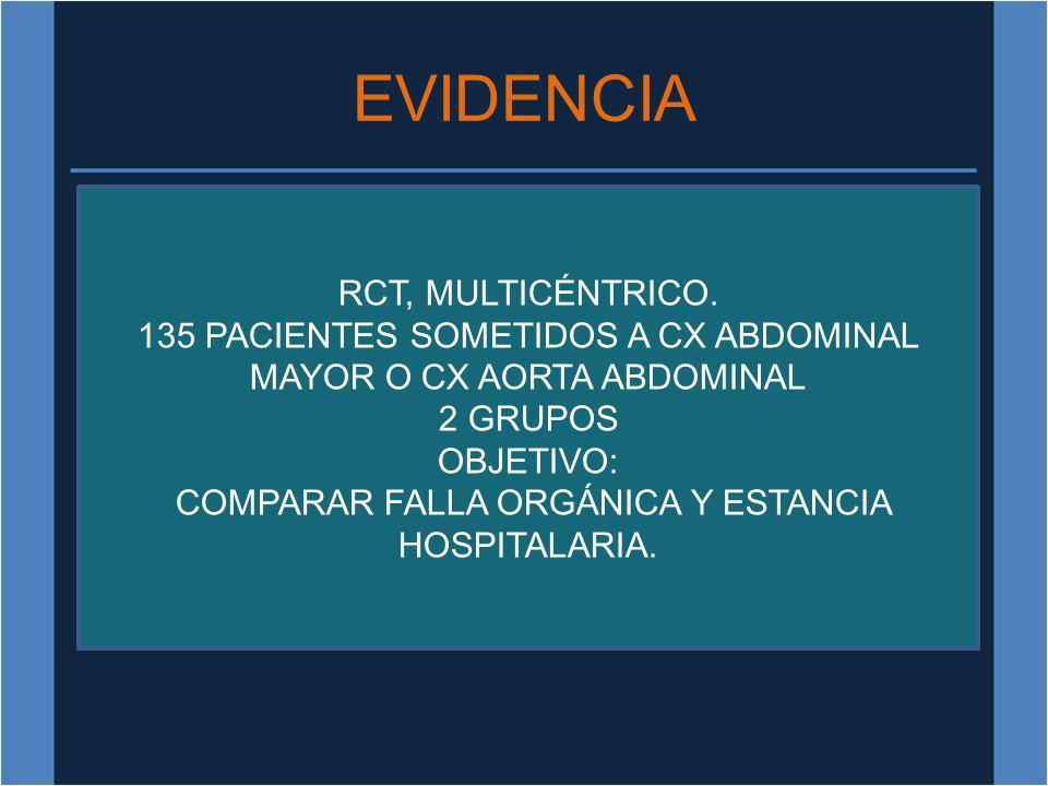 EVIDENCIA RCT, MULTICÉNTRICO.