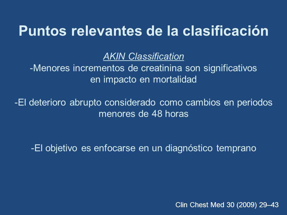 Puntos relevantes de la clasificación