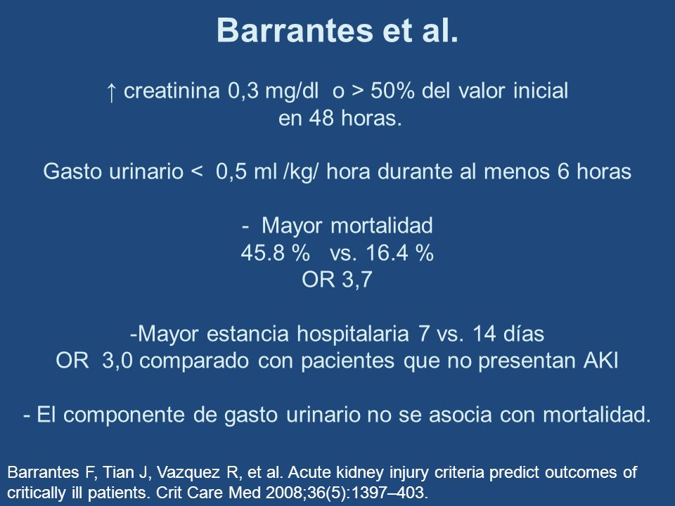 Barrantes et al. ↑ creatinina 0,3 mg/dl o > 50% del valor inicial