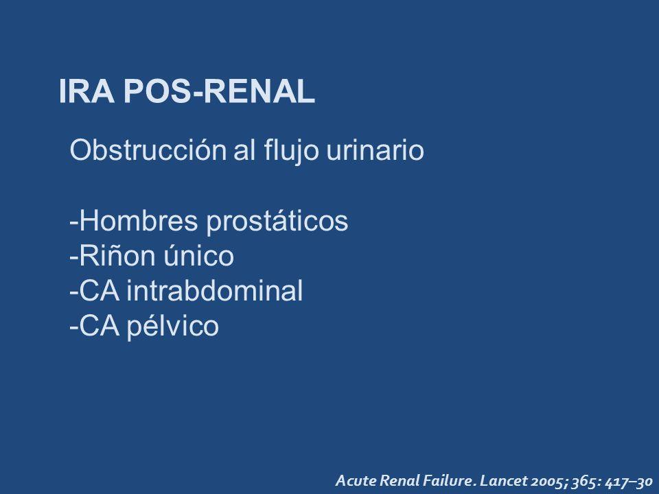 IRA POS-RENAL Obstrucción al flujo urinario -Hombres prostáticos