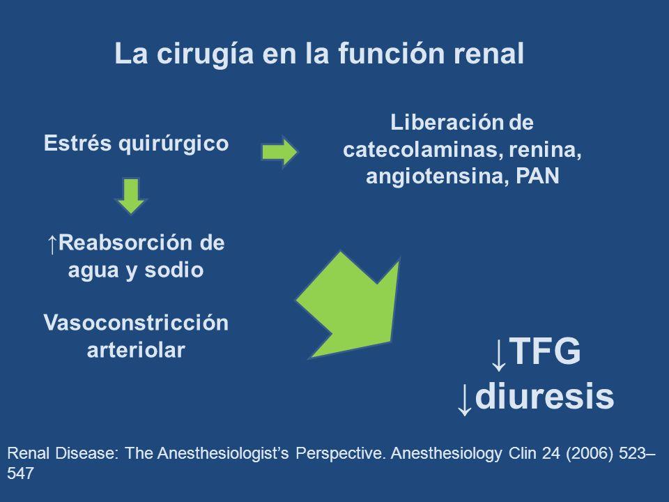 ↓TFG ↓diuresis La cirugía en la función renal