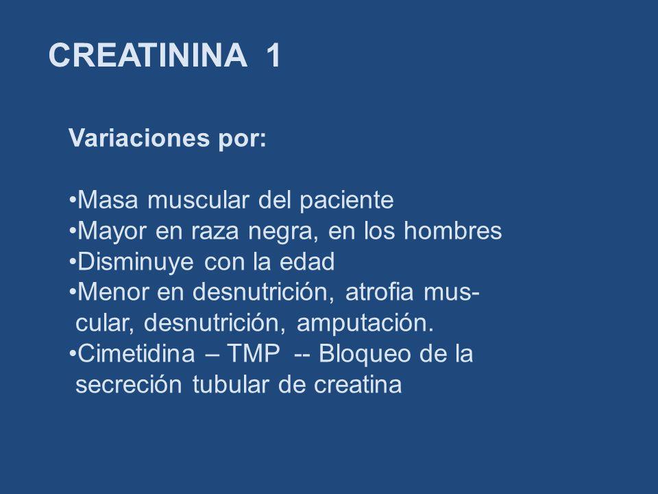 CREATININA 1 Variaciones por: Masa muscular del paciente