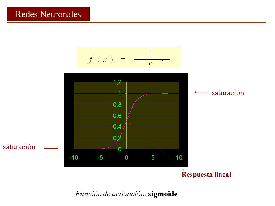 saturación saturación Respuesta lineal Redes Neuronales