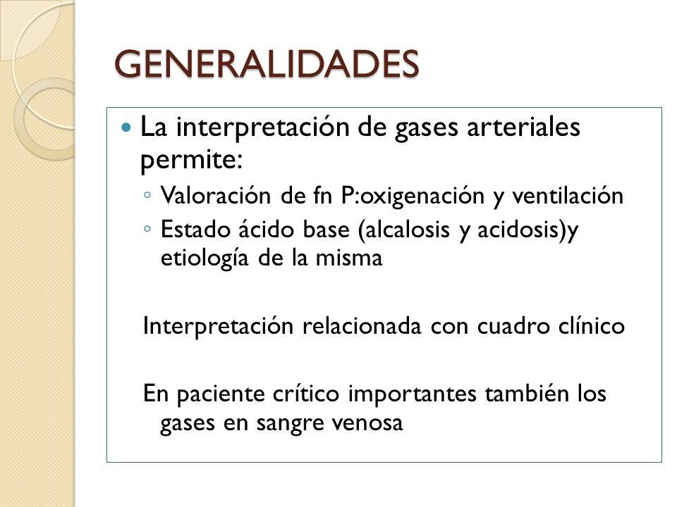 GENERALIDADES La interpretación de gases arteriales permite: